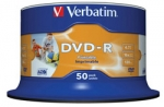 Płyty do nadruku Verbatim DVD-R 16x 4,7GB 50szt. cake box AZO, do nadruku
