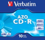 Verbatim CD-R 52x 700MB 10p jewel case Crystal, DataLife + AZO
