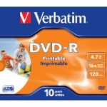 Płyty pod nadrukVerbatim DVD-R 16x 4,7GB 10szt. slim case 10 Pack Branded Jewel Case AZO