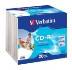 Verbatim CD-R 52x 700MB 20p slim case AZO Case Wide Inkjet Printable