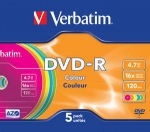 Verbatim DVD-R 16x 4,7GB 5p slim case colour