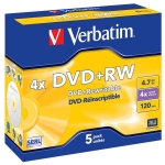 Verbatim DVD+RW 4x 4,7GB 5p jewel box DataLife PLUS bez możliwoÅ