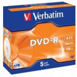 Verbatim DVD-R 16x 4,7GB 5p jewel box DataLife+,AdvAZO, scratch res, bez nadru