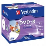 Verbatim DVD+R 16x 4,7GB 10p jewel box DataLife+AZO,Adv.AZO+, Wide Printable
